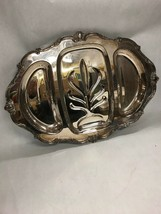 22 in. Silver plate WILCOX  Rochelle 2757 footed platter scalloped  Vintage - $37.03