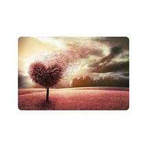 InterestPrint Abstract Field with Heart Shape Tree Doormat Non-Slip Indoor And O - $18.80