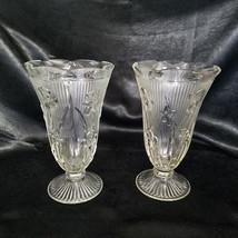 Vintage Jeannette Clear Iris 9 inch Vases - Set of 2 (1928-1932) - $40.00