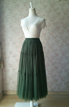 ARMY GREEN Layered Long Tulle Skirt Wedding Bridesmaid Tulle Skirt Plus Size image 5