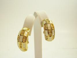 Rhinestone Gold Plate White Enamel CHECKER BOARD Wide Hoop Clip Earrings... - $12.86