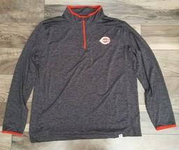 MLB Cincinnati Reds Size XL Pullover Jacket Lightweight Sweater Turtleneck Black - $35.06