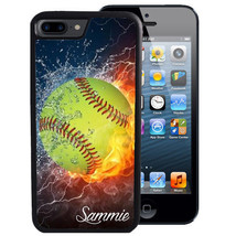 PERSONALIZED RUBBER CASE FOR iPHONE XR XS MAX 8 7 6 PLUS FLAMING SOFTBALL - $13.98