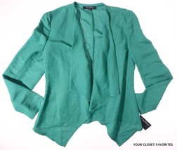 Linen Jacket Womens 10 EVAN PICONE Jade Green Cascading Open Front Tunic... - $22.22