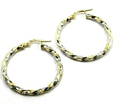 18K YELLOW WHITE GOLD CIRCLE HOOPS PENDANT EARRINGS, 3 cm x 3mm TWISTED, BRAIDED image 1