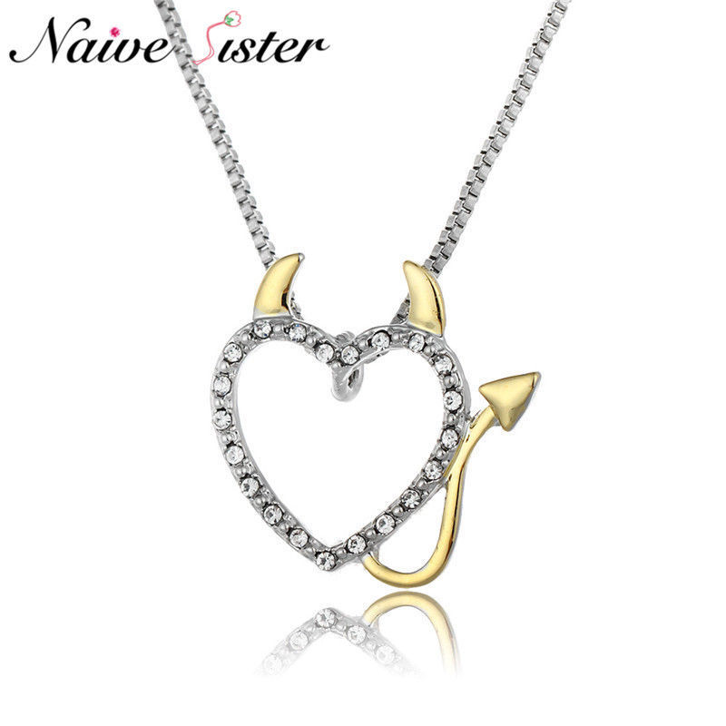 2018 Gold and Silver Plated Love Heart Accent Devil Heart Pendant Necklaces