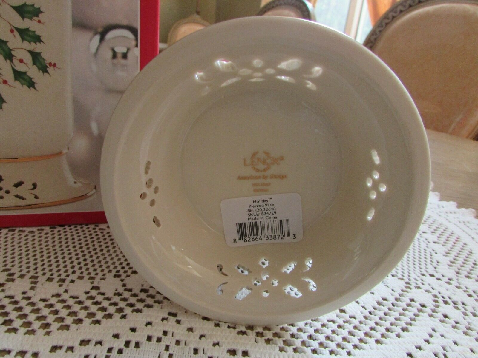 "LENOX CHINA PIERCED HOLIDAY VASE CANDLE HOLDER AMERICAN BY DESIGN 8"" NIB HOLLY"