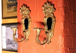 Pair 2 Brass Bronze Wall Sconces Candle Holders Vintage Antique Home Dec... - $861.89