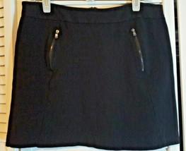 Ann Taylor Petites Black Zipper Knit MIni Skirt Size 10P - $14.85