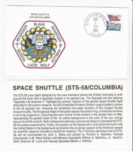 STS-58 COLUMBIA EDWARDS AIR FORCE BASE FL NOV 1 1993 WITH INSERT CARD - $1.78
