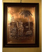MOROCCO EMBOSSED COPPER FRAMED PICTURE CAMEL RIDERS EXOTIC ROMANTIC ART - $69.00