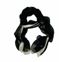 Ralph Lauren Women's Silken Translucent Sparkly Scarf (Black and White, One s... - $39.90