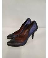 Modern Vintage Size 9.5 Blue Iridescent Stiletto Heel Pointed Toe Classi... - $39.88