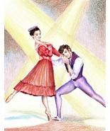"Akimova: BALLET, original drawing, portrait, colored pencils, 10.5""x 8"" - $23.00"