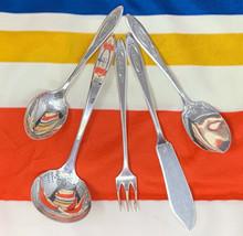 """5 Pc Community Silver Plate MONO """"E"""" Adam Gravy Pickle Fork Sugar Jelly ... - $27.50"""