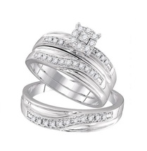 Simulated Diamond 925 Sterling Silver 14k White Gold Fn Engagement Trio Ring Set - $145.12