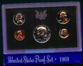 1969 S (1) ONE SET = *5*  PROOF COINS 40% SILVER KENNEDY ORIGINAL MINT P... - $12.99