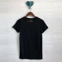 Gap Medium Solid Black Crew Neck Short Sleeve Long Length Tee Shirt Top Basic - $17.96