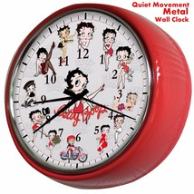 BETTY BOOB Quiet Movement  VINTAGE  METAL/GLASS Clock 24cm Can be person... - £18.84 GBP