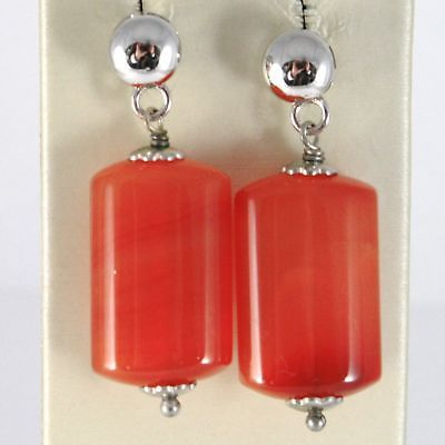 EARRINGS SILVER 925 RHODIUM WITH CARNELIAN RED RECTANGULAR PENDANT