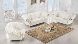 American Eagle AE508-IV Ivory Faux Leather Sofa Loveseat and Chair Set 3Pcs