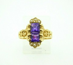14k Yellow Gold Victorian Style Ring with Amethysts and Pearls (#J567) - $300.00