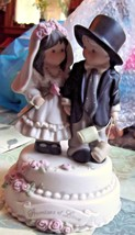 Enesco Promises Of Love Musical Wedding Figurine Bride & Groom 1997 - $13.09