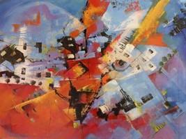 Viaggio a Cuba  by Tebo Marzari 24x32  Abstract Landscape Canvas Print - $246.51
