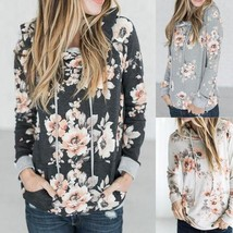 Women Fashion Plus Size Casual  Floral Long Sleeve Kangaroo Pocket Hoodie Hooded