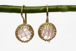 Rose quartz earrings,dangle earrings,delicate pink earrings,love earrings - $52.00+