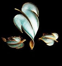 Vintage blue enamel Brooch & earrings - vintage leaf set - signed Designer clip  - $85.00
