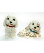 Pair Ceramic Medium Size Puppy Dog Big Eyes Figurine Vintage - £16.55 GBP