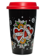 Sourpuss Punk Rock Heart Butterfly Tattoo Flowers Coffee Tea Cup Tumbler... - €18,32 EUR