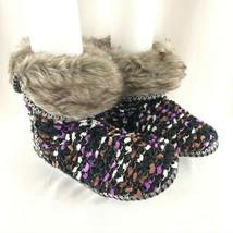 Isaac Mizrahi Womens Knit Boots Faux Fur Slip On Purple Black Size S 6-7 - $29.02