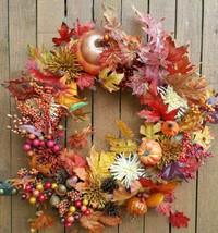 "24"" fall Wreath Handmade Pumpkins Gourds Berries Chrysanthemums Leaves D... - $42.08"