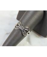 Womens Vintage Estate Sterling Silver Ribbon Ring 1.7g E5097 - $24.75