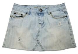 American Eagle Women's Size 6 Denim Jeans Skirt Light Wash Distressed - $13.07