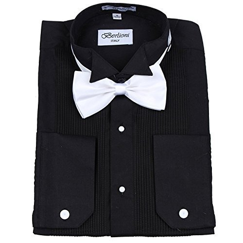 Berlioni Italy Men's Tuxedo Dress Shirt Wingtip & Laydown Collar with Bow-Tie (L
