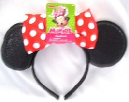 BLACK MINNIE MOUSE EARS WITH RED WHITE POLKA DOTS BOW TIE HEADBAND COSTU... - $9.89