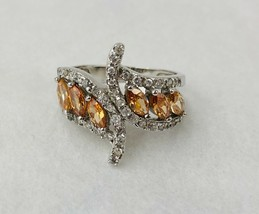 Vintage Chocolate Clear Rhinestones Silver Tone Cocktail Ring Size 8 - $11.30
