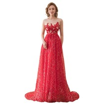 Women's Scoop Neck Long Sequins Prom Dresses Lace Appliques Evening Part... - $118.98