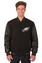 Philadelphia Eagles Wool & Leather Reversible Jacket Two Embroidered Front Logos - $219.99