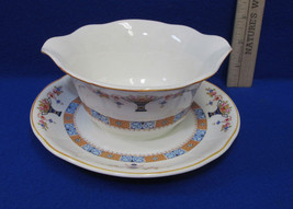 Vintage Ceramic Gravy Sauce Boat Dish Bowl & Pl... - $15.83