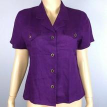 Talbots Womens 10 Solid Purple Linen Button Down Shirt Short Sleeves  - $34.64