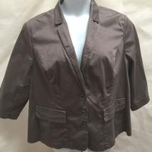 New Lane Bryant Plus Size 24 Jacket Gray Cotton Stretch Swing Blazer 3/4... - $21.53