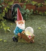 BUSY GNOME with Wheelbarrow Solar Statue Light Up Ball - $24.97