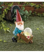 BUSY GNOME with Wheelbarrow Solar Statue Light Up Ball - $24.97