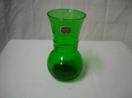 Vintage Forest Green Anchor Hocking Anchorglass Glass Vase Christmas Thanksgivin - $17.81