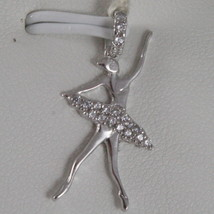 SOLID 18K WHITE GOLD DANCER BALLET PENDANT CHARM WITH ZIRCONIA, MADE IN ITALY image 1