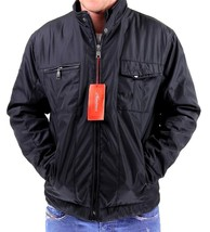NEW MEN'S CLASSIC ZIP UP WATER RESISTANT SECURITY POLY JACKET BLACK B-H004